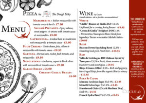 Pizza & Wine menu