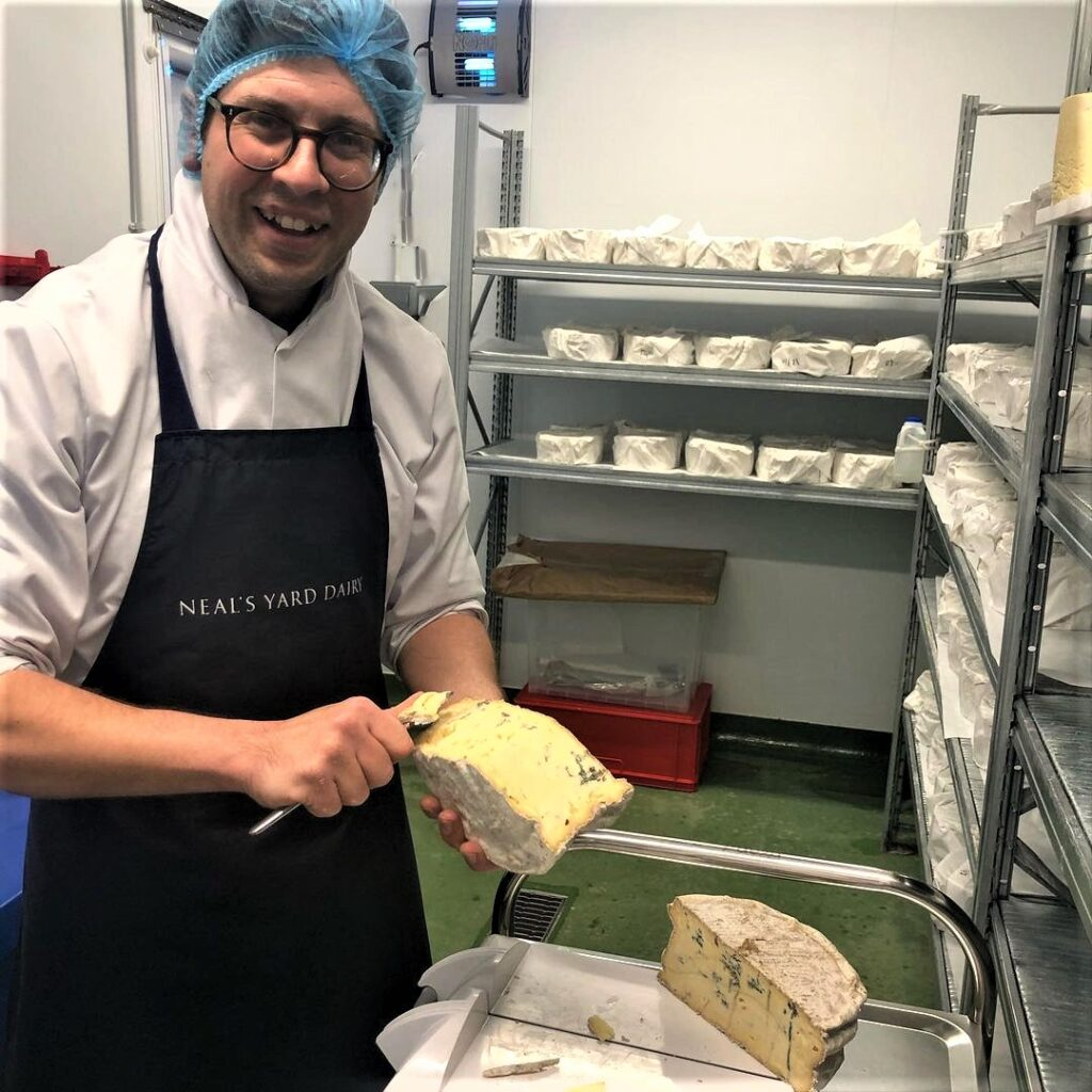 Martin in the dairy with the cheese