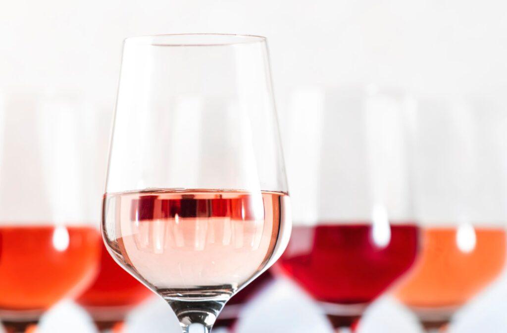 rose wine in glasses